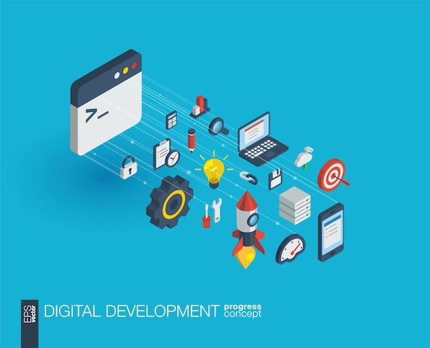 Rozwój zintegrowanych ikon internetowych. koncepcja postępu izometrycznego sieci cyfrowej. połączony system wzrostu linii graficznych. abstrakcyjne tło do programowania, kodowania, aplikacji. infograf
