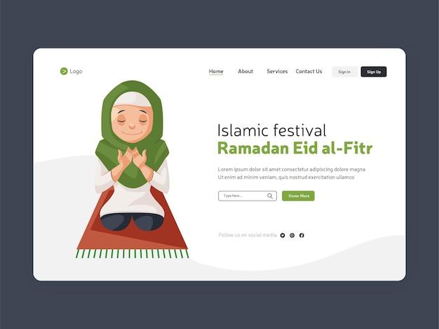 Rramadan islamski festiwal eid al fitr projekt szablonu strony docelowej