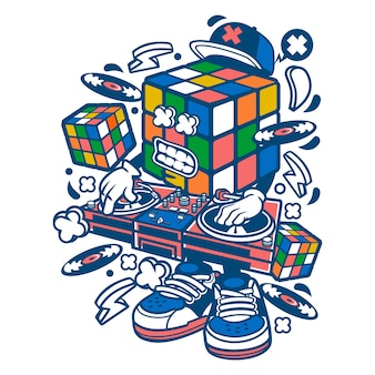 Rubix cube disk jockey cartoon
