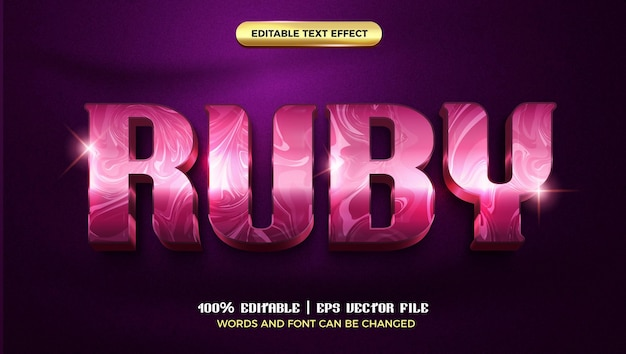 Ruby glossy marble luksusowy szablon 3d edytowalnego stylu efektu tekstowego