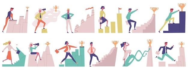 Ruch celu ludzi biznesu. cel osiągnąć samce i samice udane profesjonalne postacie wektor zestaw ilustracji. osiągnięcia celów kariery. pracownicy idący do nagrody lub flagi trofeum