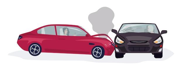 Ruch drogowy lub wypadek samochodowy lub wypadek samochodowy na białym tle