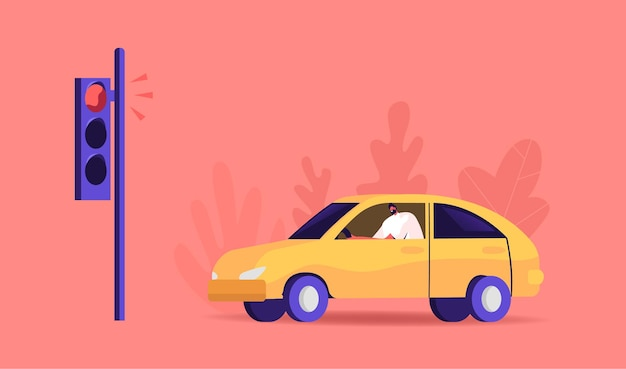 Ruch miejski, człowiek prowadzący samochód stoi na sygnalizacji świetlnej