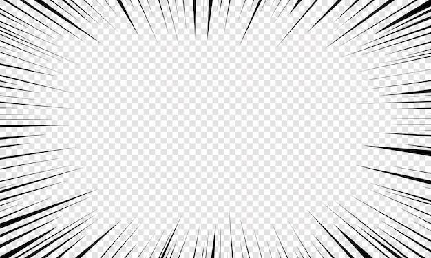 Ruch promieniowe linie tła dla komiksów. pękają jasne, czarne, białe smugi światła. blask wiązki błysku. latające cząsteczki, graficzna tekstura. wybuch z liniami prędkości. ilustracja,.