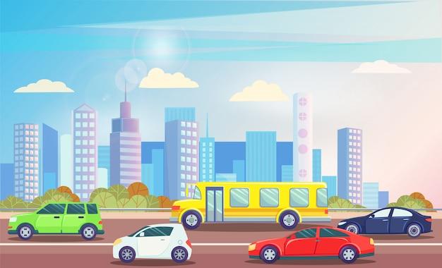 Ruchliwie ruch drogowy droga z kolorowym samochodu pejzażu miejskiego wektorem