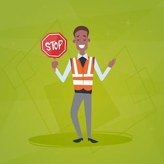 Ruchu policjanta strażnik gospodarstwa stop znak drogowy