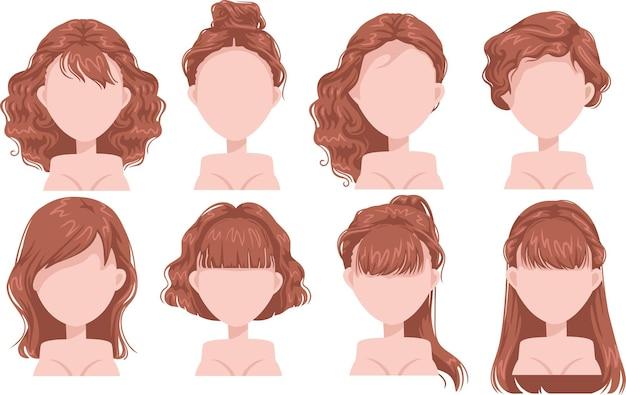 Rude włosy kobieta piękna fryzura i modna fryzura