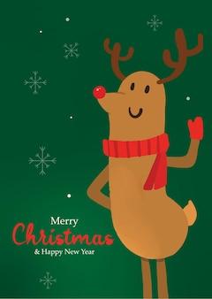 Rudolf jeleń wesołych świąt w tle