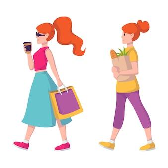Rudowłosa dama w okularach przeciwsłonecznych iz kawą w ręku idzie po ubrania. dziewczyna na zakupy. kobieta o rudych włosach niesie papierową torbę z artykułami spożywczymi ze sklepu spożywczego.