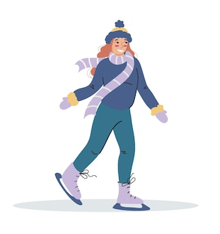 Rudowłosa dziewczyna w zimowych strojach jeździ na łyżwach. płaskie ilustracja na białym tle. sporty zimowe.