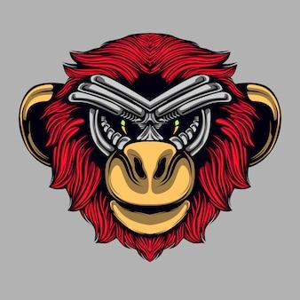 Rudowłosa małpa ilustracja