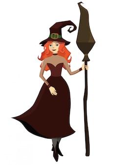 Rudowłosa wiedźma z miotłą w dłoni. izoluj na białym tle. ilustracja.