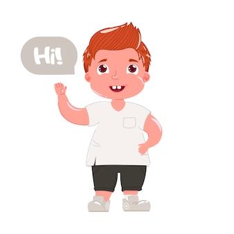 Rudowłosy chłopiec mówi cześć. dziecko w nowoczesnych ubraniach wita go grzecznie