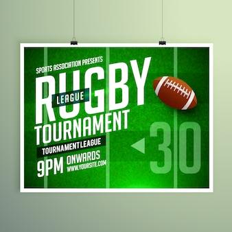 Rugby gra ulotki zdarzenia plakatu wektora projektowania szablonu
