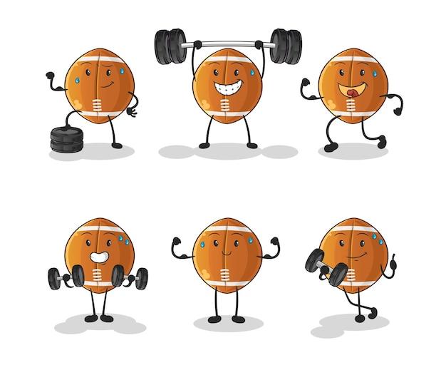 Rugby piłka ćwiczenia zestaw znaków. kreskówka maskotka