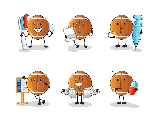 Rugby piłka lekarz grupa znaków. kreskówka maskotka