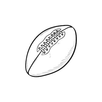 Rugby piłka ręcznie rysowane konspektu doodle ikona. sprzęt do rugby, sport zespołowy, koncepcja zdrowego stylu życia