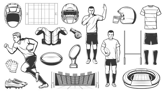 Rugby sport lub piłka nożna ikony gier amerykańskich graczy i sprzęt