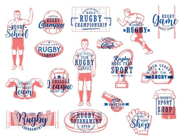 Rugby sportowe wektorowe ikony. mecz futbolu amerykańskiego