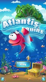 Ruiny atlantydy - gui interfejsu gry z tytułem i podwodną sceną