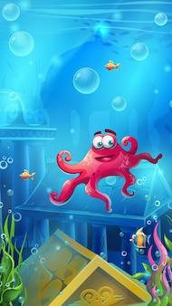 Ruiny atlantydy - ilustracja wektorowa z podwodną sceną i ośmiornicą do gier