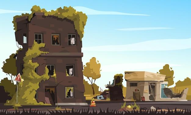 Ruiny miasta ze zniszczonymi opuszczonymi budynkami w kreskówce strefy wojny