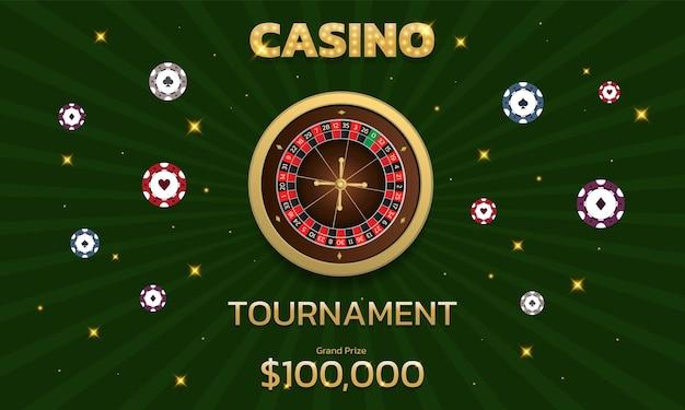 Ruletka i żetony turniejowe w kasynie może być używana jako baner lub reklama na ulotkę