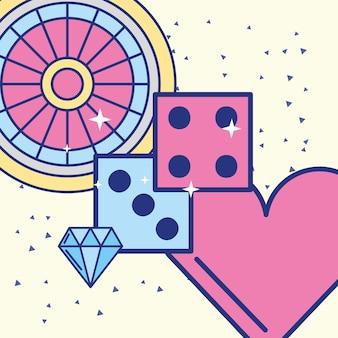 Ruletka w kasynie kości diamentowych obrazów serca
