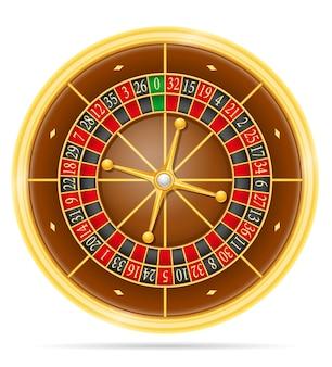 Ruletka w kasynie na białym tle