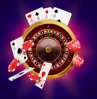 Ruletka w kasynie z realistycznymi plakatami hazardowymi z żetonami, monetami i czerwonymi kostkami. casino vegas ulotka projektu koła fortuny ruletki.