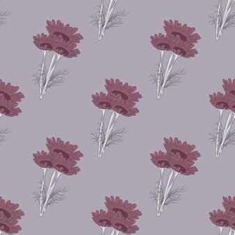 Rumianek wzór na szarym tle. piękny ornament lato fioletowe kwiaty.