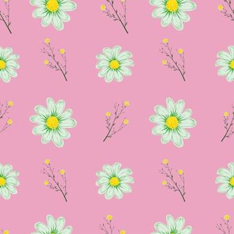 Rumianek wzór różowy tło