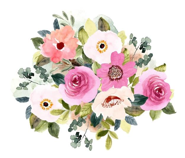 Rumieniec różowy kwiat bukiet akwarela tło