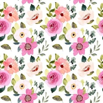 Rumieniec różowy kwiatowy akwarela bezszwowe wzór