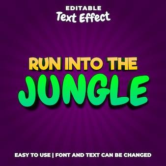 Run into the jungle game logo edytowalny styl efektu tekstowego