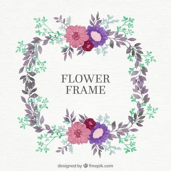 Runda kwiatowa rama z różowymi i fioletowymi kwiatami