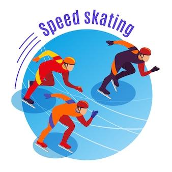Runda łyżwiarska z trzema sportowcami rywalizującymi na izometrycznej bieżni