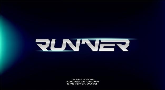 Runner, abstrakcyjna sportowa futurystyczna czcionka alfabetu z motywem technologicznym. nowoczesny minimalistyczny projekt typografii