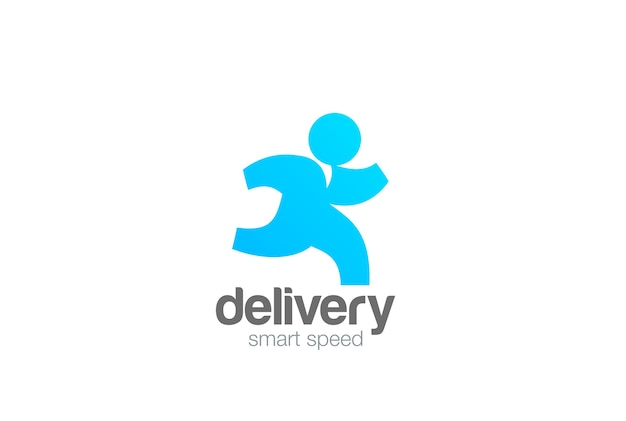 Running man delivery logo na białym tle