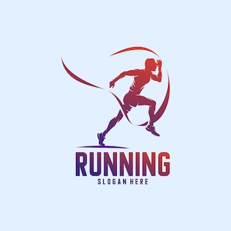 Running man sylwetka logo ze wstążką finish