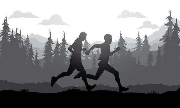 Running sylwetki. ilustracja wektorowa, bieganie w terenie, maratończyk.