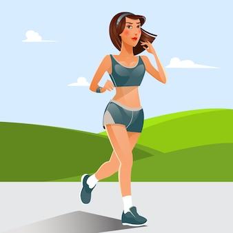 Running woman. sprawny dziewczyna robi ćwiczenia sportowe. kobieta biega przez łąki. ilustracji wektorowych