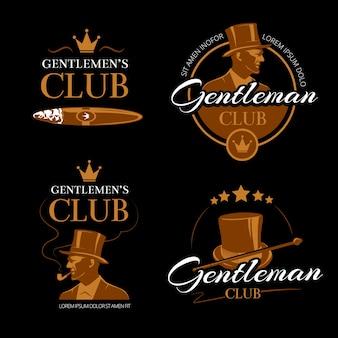 Rura męska klub wektor dżentelmenów zestaw logo. klasyczna moda, twarz logotypu, ilustracja portret mężczyzny
