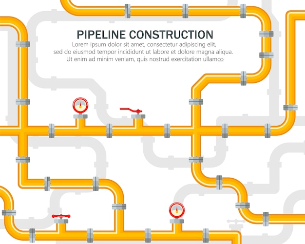 Rurociąg przemysłowy na żółtym tle. części zamienne do rurociągu. dźwignia otwiera lub zamyka zawór. olej, woda lub gaz w trąbce.