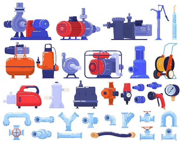 Rurowe pompy wodne maszyny, sprzęt, technologia rurociągów w branży zestaw ilustracji.