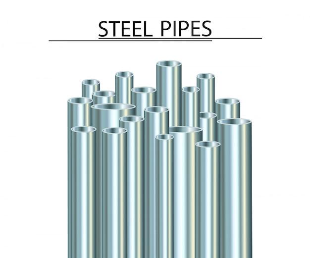 Rury stalowe na białym tle. przemysłowa rura metalowa.