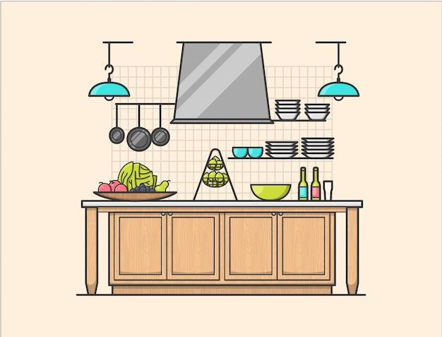Rustykalna kuchnia wnętrza