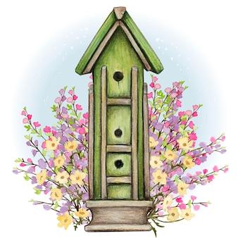 Rustykalna wielopoziomowa ilustracja akwarela birdhouse