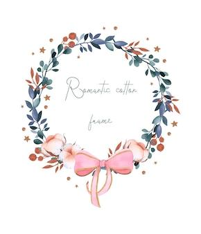 Rustykalne bawełniane kwiaty z różową kokardką szablon zaproszenia ramki akwarela