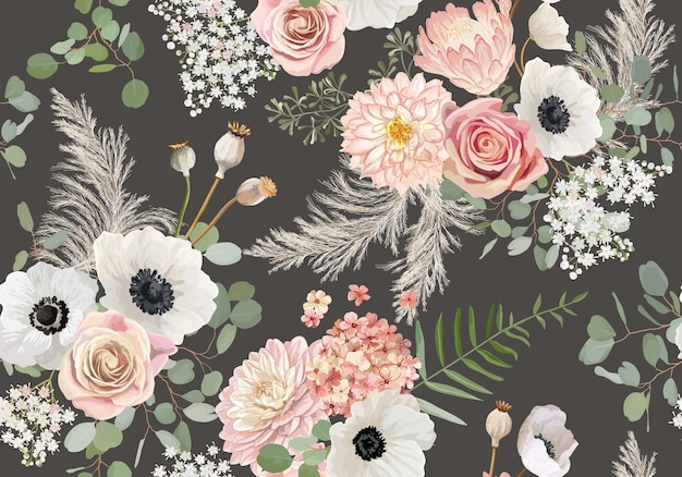 Rustykalne suszone kwiaty wzór. akwarela zawilec, kwiat róży, liście eukaliptusa, trawa pampasowa bezszwowe tło wektor. letni projekt boho na ślub, nadruk na tkaninie, teksturę tapety, tło